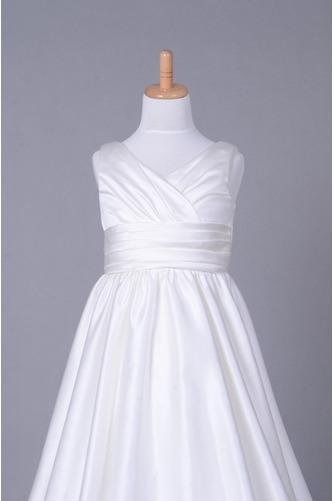Fallen Lange V-Ausschnitt Satiniert Gerafft Kleine Mädchen Kleid - Seite 4
