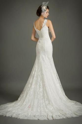 Ärmellos Spitze Draussen Natürliche Taille Fest Reißverschluss Brautkleid - Seite 2