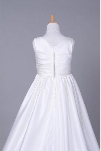 Fallen Lange V-Ausschnitt Satiniert Gerafft Kleine Mädchen Kleid - Seite 6