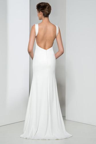 Frenal Ärmellos Natürliche Taille Fegen zug Hochzeit Abendkleid - Seite 3