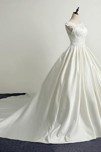 Schnüren Kirche Frenal Natürliche Taille Brautkleid mit kurzen Ärmeln - Seite 3