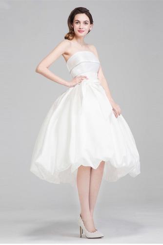 Satiniert Natürliche Taille Sommer Frenal Trägerlose Brautkleid - Seite 2