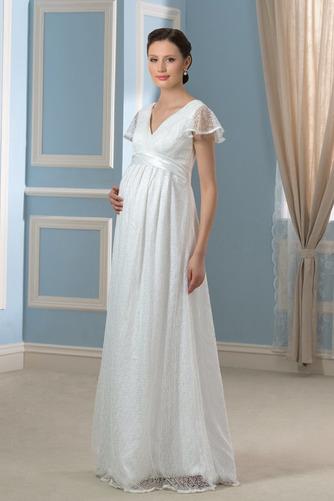 Elegante Reißverschluss Fegen zug Brautkleid mit kurzen Ärmeln - Seite 3