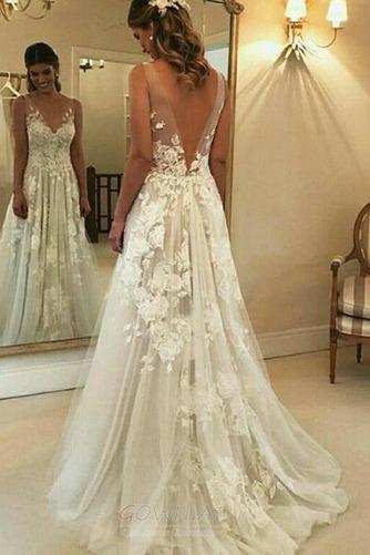 Appliques V-Ausschnitt Frenal Ärmellos Natürliche Taille Hochzeitskleid - Seite 1