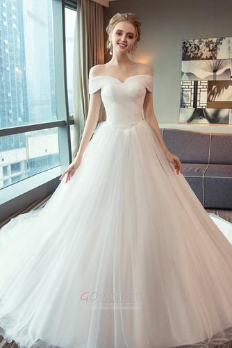 Schnüren Mit geschlossenen Ärmeln Königlicher Zug Einfache Brautkleid - Seite 1