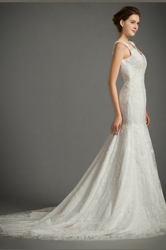 Ärmellos Spitze Draussen Natürliche Taille Fest Reißverschluss Brautkleid - Seite 3