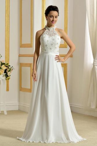 Hoher Hals Natürliche Taille Klassisch Ärmellos Hochzeitskleid - Seite 1