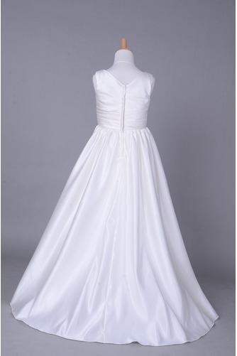 Fallen Lange V-Ausschnitt Satiniert Gerafft Kleine Mädchen Kleid - Seite 3