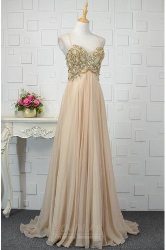 A Linie Natürliche Taille Ärmellos Bördeln Glänzendes Abendkleid - Seite 2