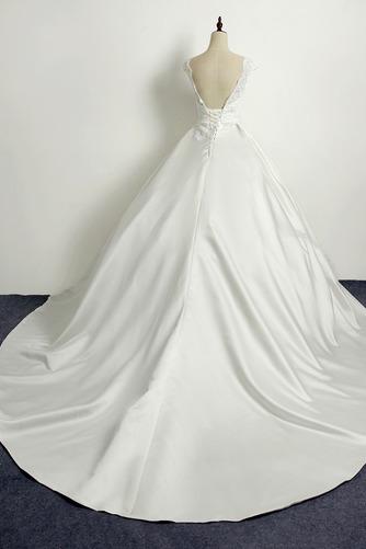 Schnüren Kirche Frenal Natürliche Taille Brautkleid mit kurzen Ärmeln - Seite 2