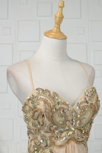 A Linie Natürliche Taille Ärmellos Bördeln Glänzendes Abendkleid - Seite 4