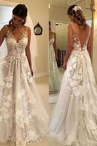 Appliques V-Ausschnitt Frenal Ärmellos Natürliche Taille Hochzeitskleid - Seite 3