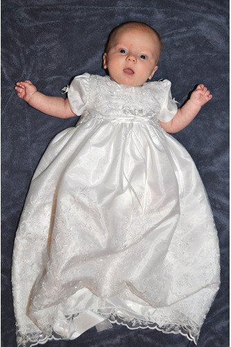 Zierlich Kurze Ärmel Lange Zeremonie Juwel Blumenmädchen kleid - Seite 2
