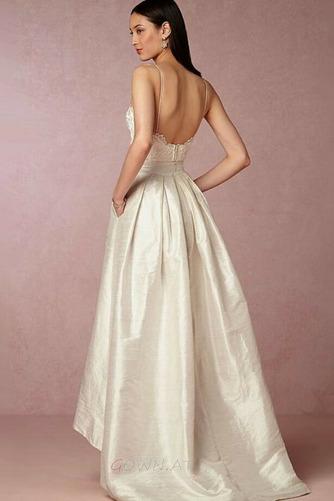 Natürliche Taille Ärmellos V-Ausschnitt Taft Schöne Hochzeitskleid - Seite 2