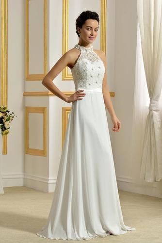 Hoher Hals Natürliche Taille Klassisch Ärmellos Hochzeitskleid - Seite 2