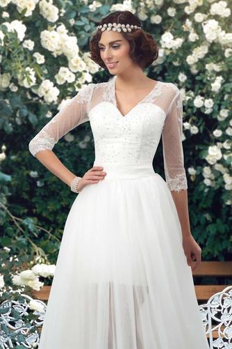 Natürliche Taille Fegen zug V-Ausschnitt Elegante Winter Brautkleid - Seite 3