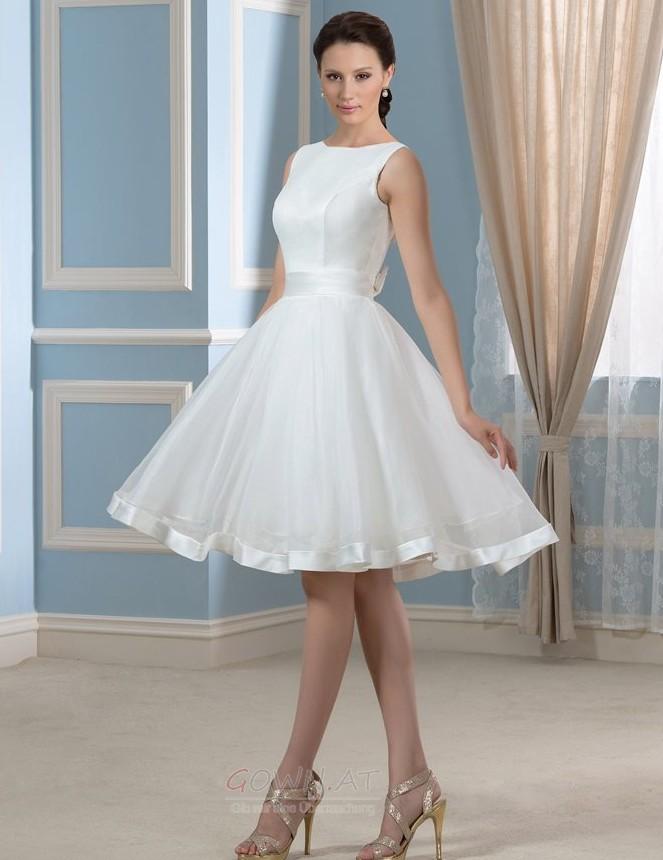 Natürliche Taille Schaukel Draussen Bateau Sommer Brautkleid - gown.at