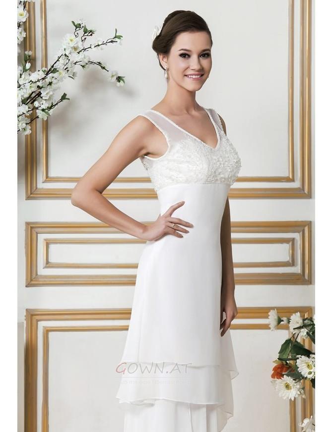 Asymmetrisch Draussen Natürliche Taille V-Ausschnitt Sexy Brautkleid ...