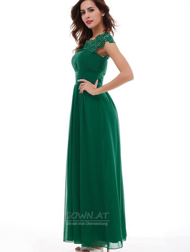 Drapiert Gefaltete Mieder Kurze Armel Reissverschluss Abendkleid Gown At