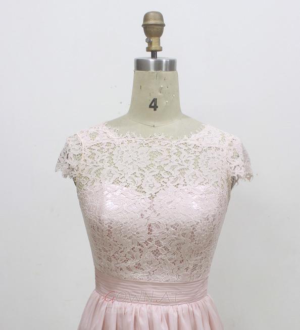 Natürliche Taille Sommer Fegen zug Spitze Brautjungfer kleid - gown.at