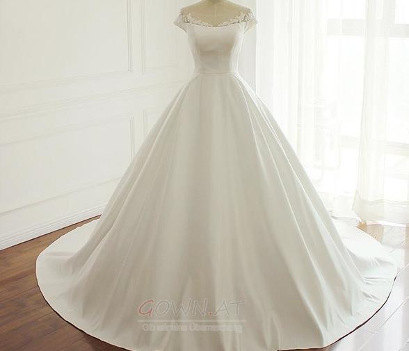Lange Gerafft Natürliche Taille Reißverschluss Satin Brautkleid ...