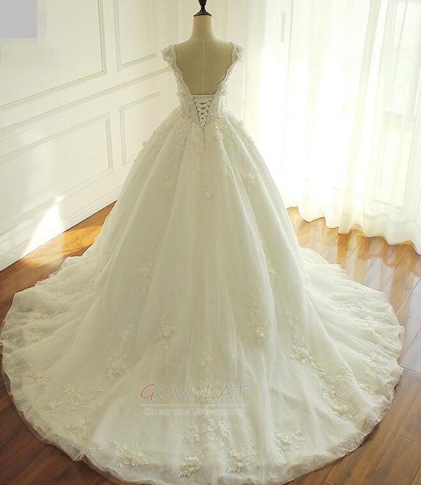 Blumen Natürliche Taille V-Ausschnitt Fallen Formalen Brautkleid ...